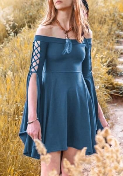 a57398c16d8c Blue Pleated Swallowtail Off Shoulder Lace-up High Waisted Retro Cute  Country Midi Dress