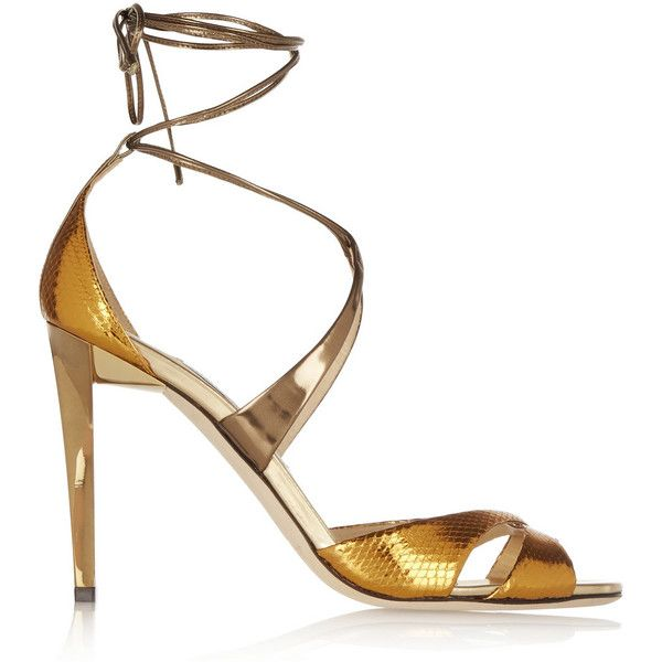 Jimmy Choo Teira metallic ayers and mirrored-leather sandals (€360) ❤ liked on Polyvore featuring shoes, sandals, gold, jimmy choo, tie shoes, high heel shoes, high heel sandals, metallic high heel shoes and metallic shoes