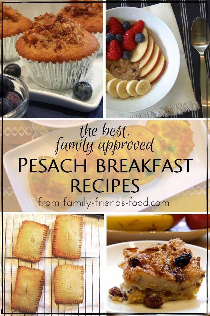 Start your Passover days right with this selection of delicious family-approved breakfasts, including pancakes, porridge, muffins and more!  Includes vegetarian, vegan, gluten-free, nut-free and dairy-free options. #Pesach #Kosher