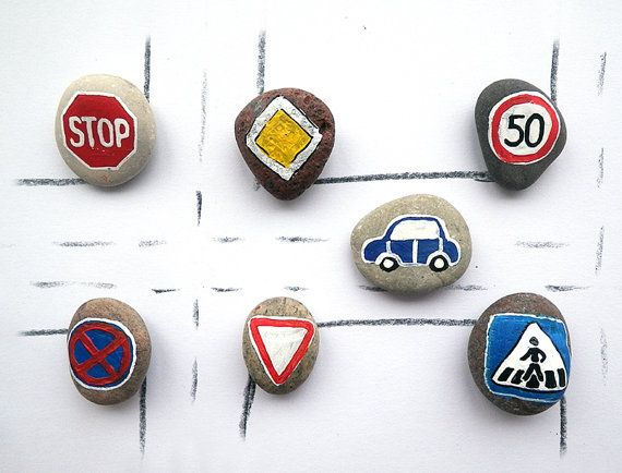 Road Signs with Magnets, European Traffic Symbols, Play for Magnetic Chalkboard, Eco Toys, Gift Idea for Boys, Painted Beach Stones