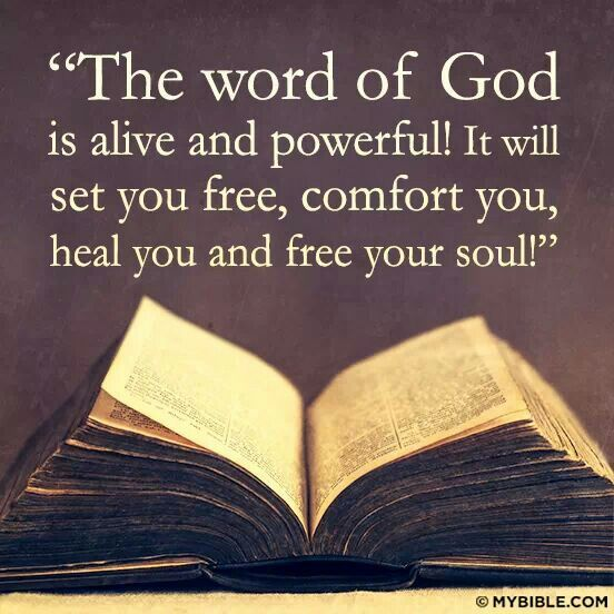 """""""The Word of God is alive and powerful! It will set you free, comfort you, heal you, and free your soul."""""""
