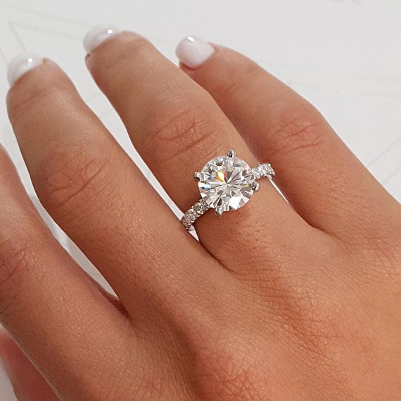 9.5mm Forever One Colorless Moissanite Engagement Ring | Micro Pave Setting | 3.5 Carat Ring | 14K White Gold Modern Band | BestBrilliance