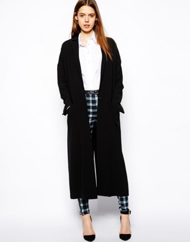 ASOS Longline Oversized Ladies Duster Coat in Black UK 16/EU 44/US