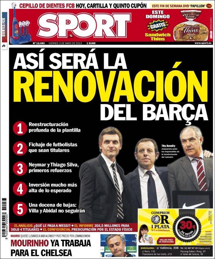 Los Titulares y Portadas de Noticias Destacadas Españolas del 3 de Mayo de 2013 del Diario Deportivo SPORT ¿Que le parecio esta Portada de este Diario Español?