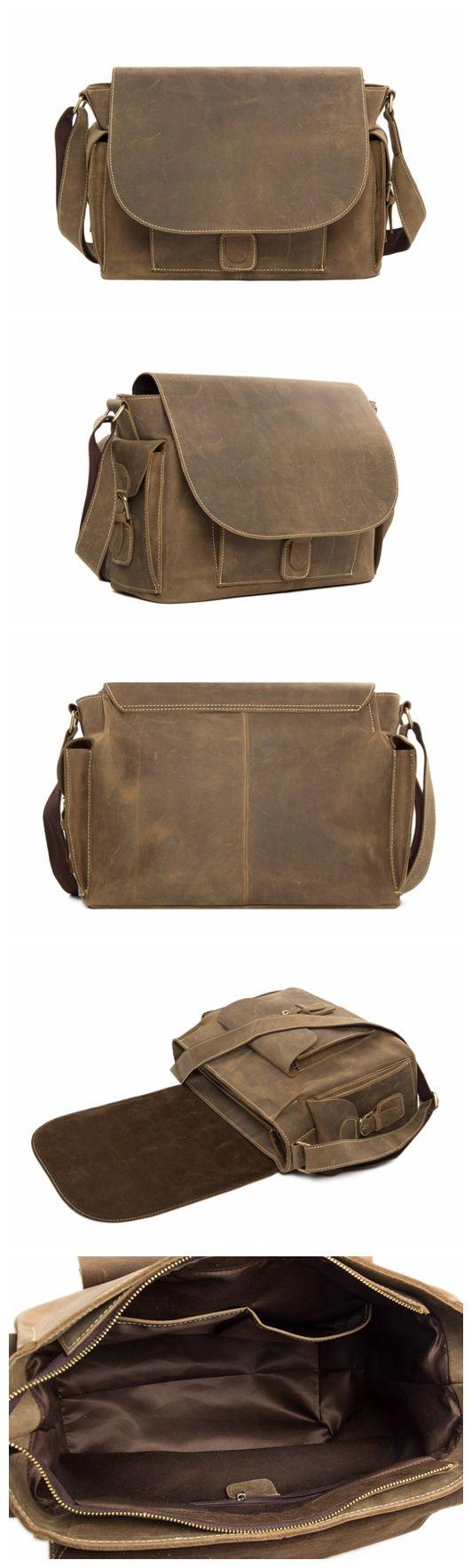 Genuine Leather Messenger Bag Crossbody Bag 13'' Laptop Shoulder Bag