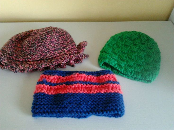 Hand knitted colourful hats