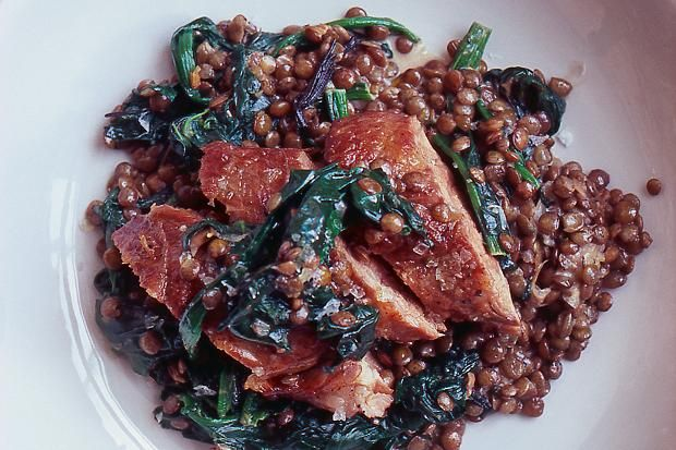 Nigel Slater's recipe for lamb fillet with lentils - taken from A Year of Good Eating by Nigel Slater