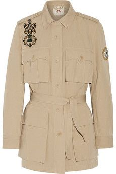 Embellished cotton and linen-blend gabardine jacket