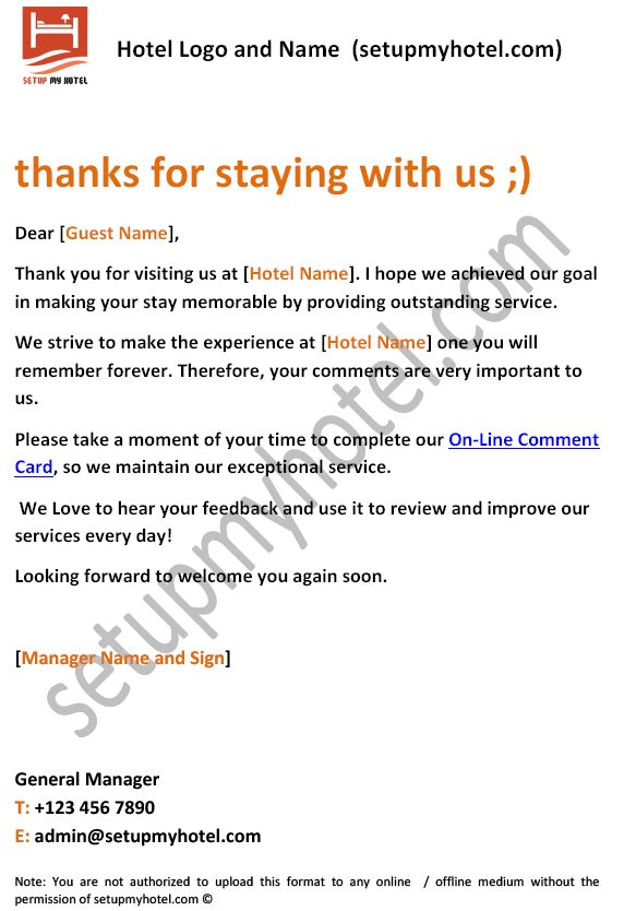 Thank You For Visiting Our Resort Letter