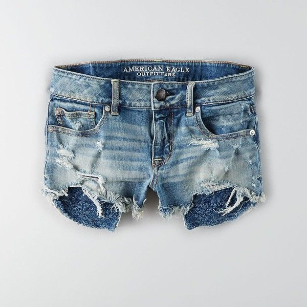 AEO Denim X4 Shorts (19 JOD) ❤ liked on Polyvore featuring shorts, denim shorts, fitted shorts, american eagle outfitters, low rise shorts and american eagle outfitters shorts