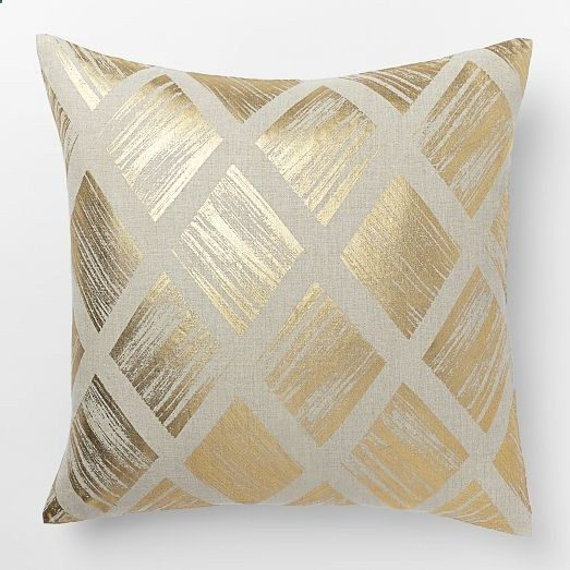 Gorgeous in gold. Crafted of 100% linen, the Metallic Diamond Pillow Cover is based off of artwork by renowned British designer Sarah Campbell. Putting a glamorous spin on a classic pattern, this cover is great to mix and match with other metallic accents for a luxe look. - The Tres Chic