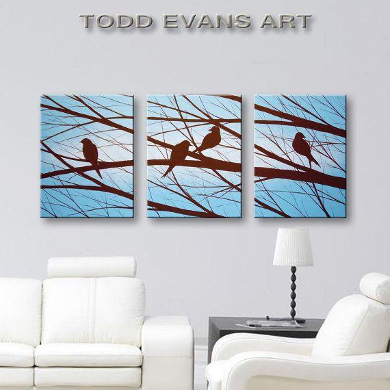 Bird Silhouette Canvas Art Wall Decor Wall Art Home Decor Modern Art Tree  Blue U0026 Brown Good Ideas