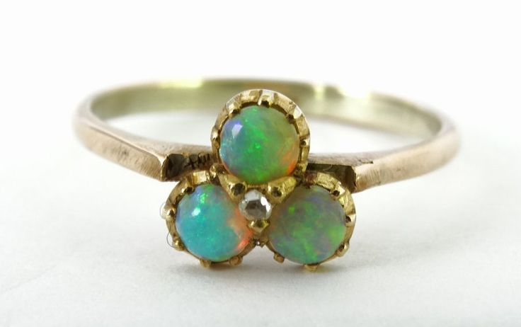 Antique Victorian Ladies White Opal and Old Mine Cut Diamond Trefoil Dress Ring in 9ct Yellow Gold FREE POSTAGE Included by GloryBeVintageWares on Etsy