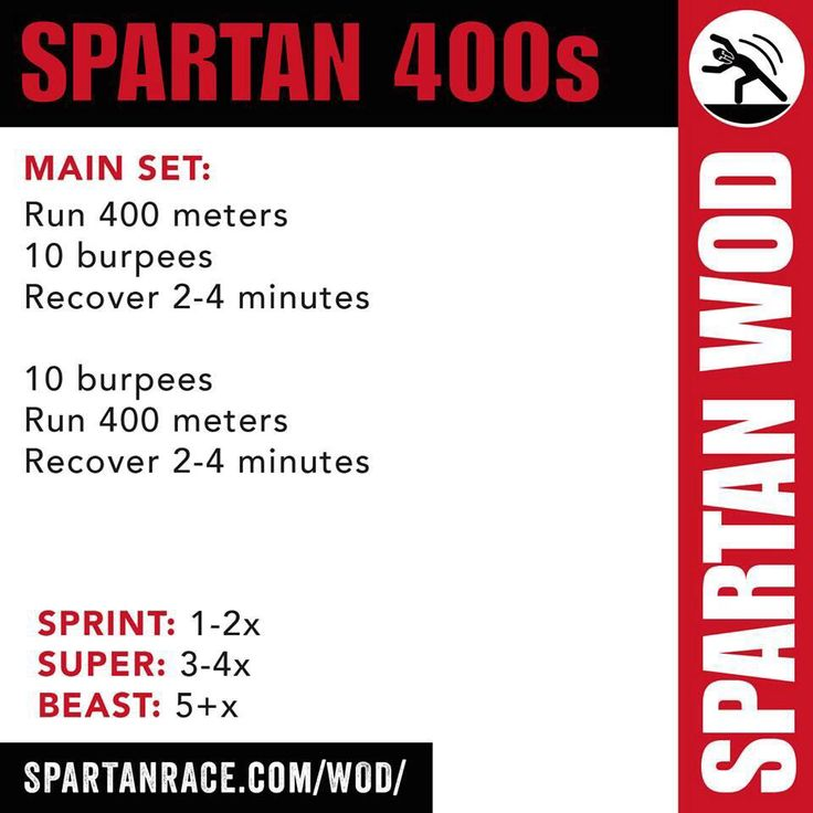run 400m, 10 burpees, recover 2 - 4 minutes, 10 burpees, run 400 meters, recover 2 - 4 minutes