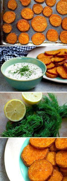 Sweet Potato Chips with a Creamy Lemon and Dill dip! A flavour pairing made in heaven! Gluten free, vegan, paleo