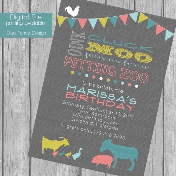 Petting Zoo birthday party invitation bunting by BlueFenceDesigns