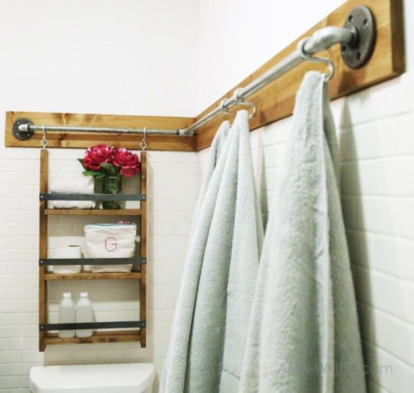 industrial rail bathroom organizer (Ana White)