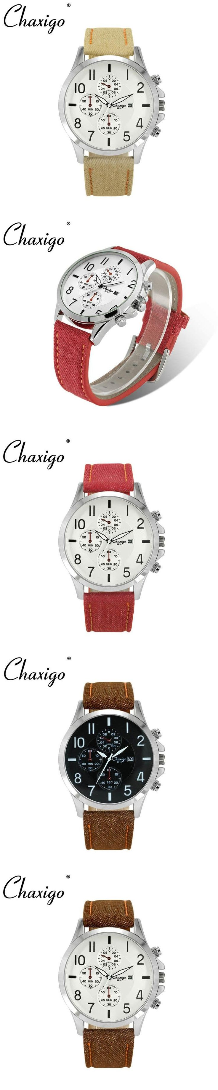 Chaxigo Colorful Fabric Leather Band Waterproof Watch Men Male Casual Wrist Watch Clock Military Style Watches With Red Band