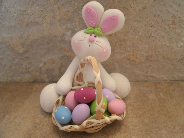 *POLYMER CLAY ~ Easter Bunny and Basket of Eggs.