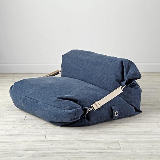 Shop Kids Blue Bean Bag Bed Chair. It's a bean bag chair. It's a floor cushion. Wait, it's both? Our adjustable bean bag chair does double duty, thanks to the unique design.