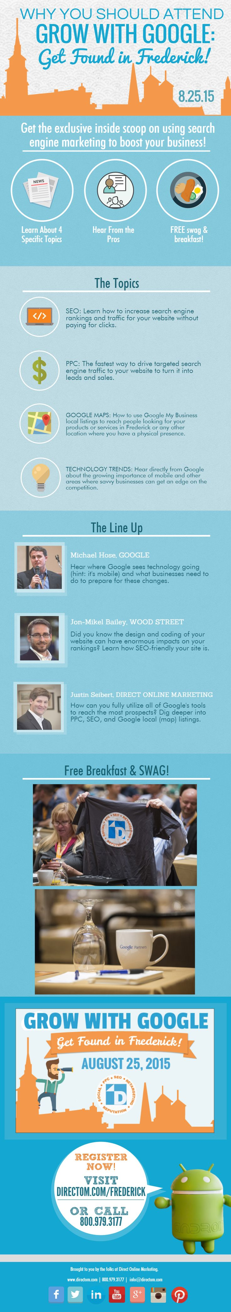 Get the exclusive inside scoop on using search enginge marketing to boost your business! Register online at www.directom.com/frederick! Event is being held on August 25th in Frederick, MD!