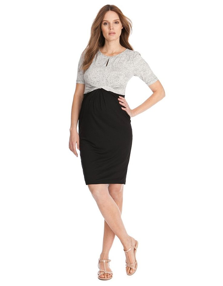 Black & White Front Twist Maternity Dress | Seraphine