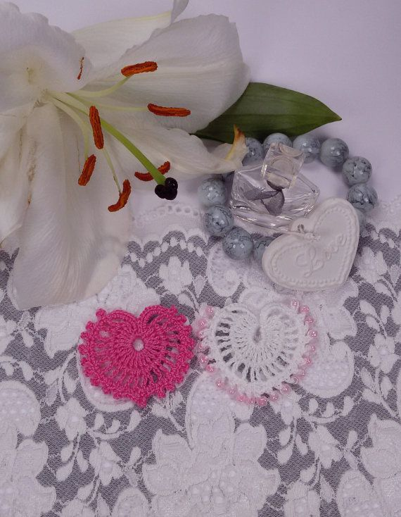 2 crochet hearts Shabby Chic heart appliques pink by Rocreanique on Etsy