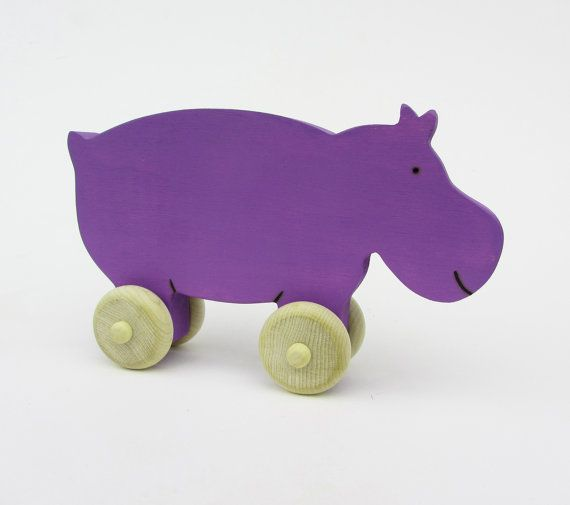 Wood toy Hippopotamus Push Toy Waldorf by Imaginationkids on Etsy