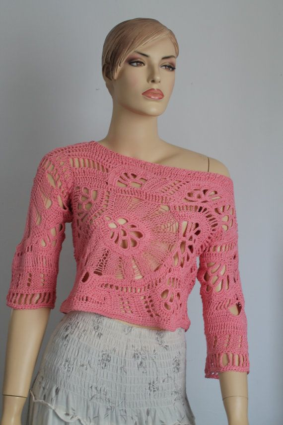 Crochet Sweater Chic Boho Hippie Lace Freeform by levintovich