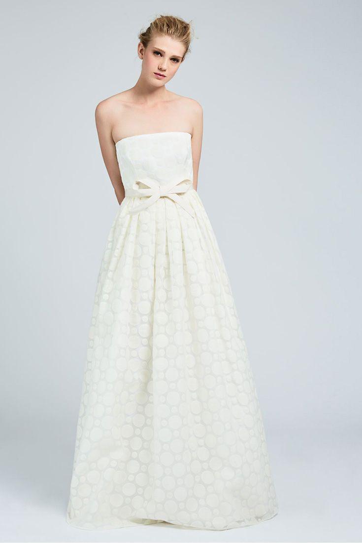 HEDERA, organza bustier dress with decorative polka-dot pattern, embellished with a fun gros-grain waist belt with semi-rigid couture bow. #MaxMaraBridal #weddingdress #abitodasposa