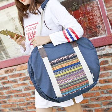 Women Oxford Cloth Waterproof National Style Hangbag Luggage Travel Bag - US$29.99