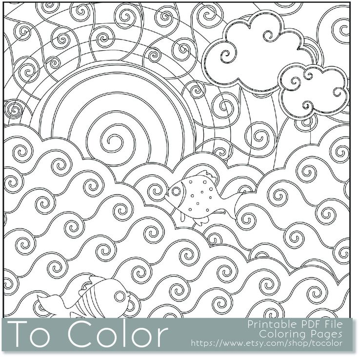Printable Sun And Sea Coloring Page For Adults PDF JPG Instant Download