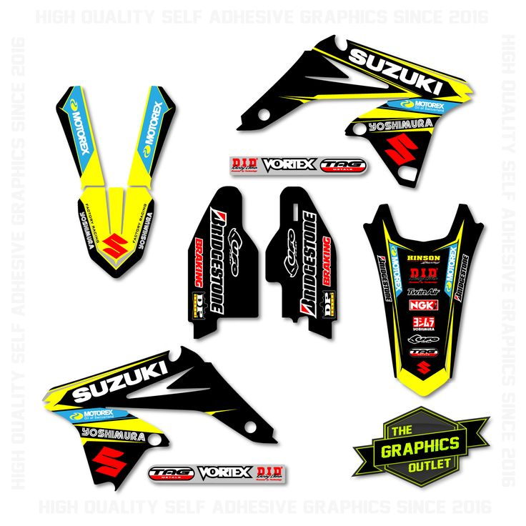 SUZUKI RMZ250 2010-16- MOTOREX / YOSHIMURA FACTORY REPLICA - SPLIT KIT MOTOCROSS GRAPHICS