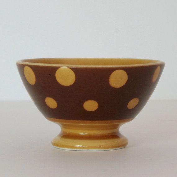 French Vintage Bowl - Brown with Dots Café au Lait Cup - Country Home Decor