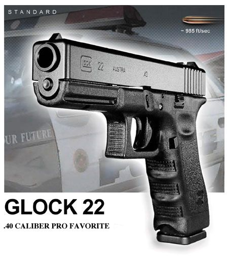 Glock 22, .40 caliber. My sidearm of choice.