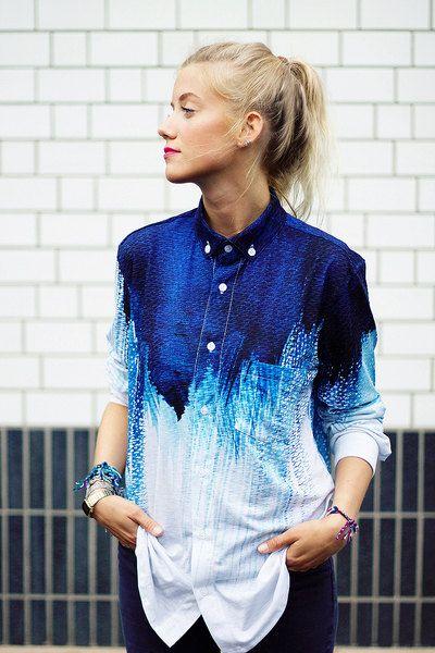 Blau Bluse Hemd Ombré T-Shirt All Over Print von LikeLifeStreetwear