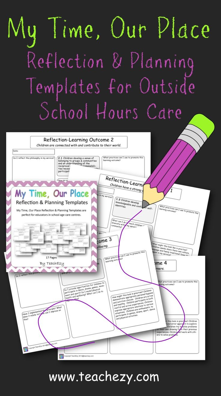 reflection and planning templates for after school hours