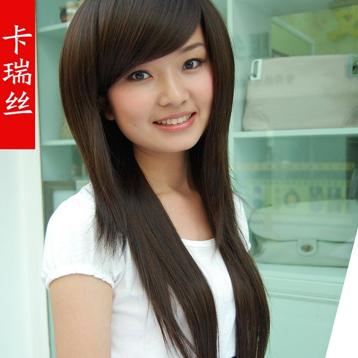 Asian Straight Layered Hair With Side Bangs Cute Long Strai...