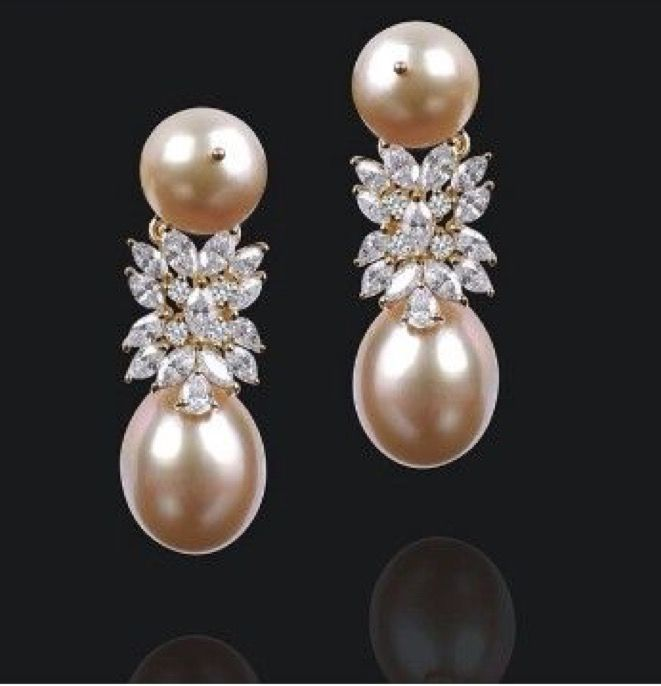 pink pearls & diamond drop earrings