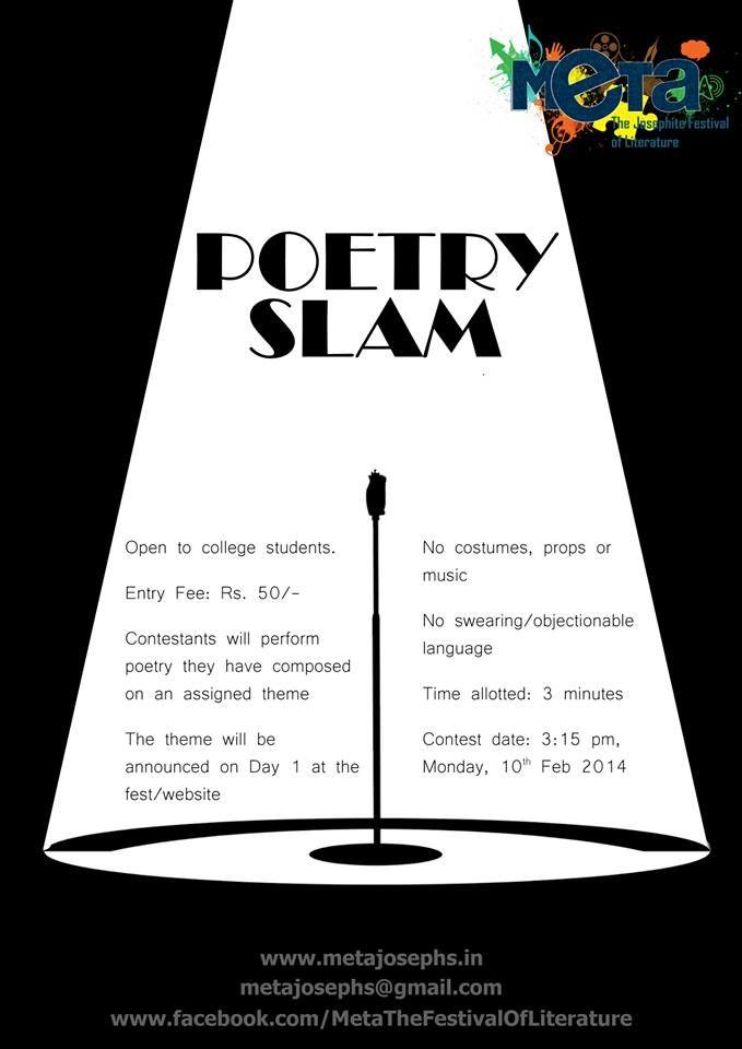 Poetry slam. monday 10th Feb. 3:15