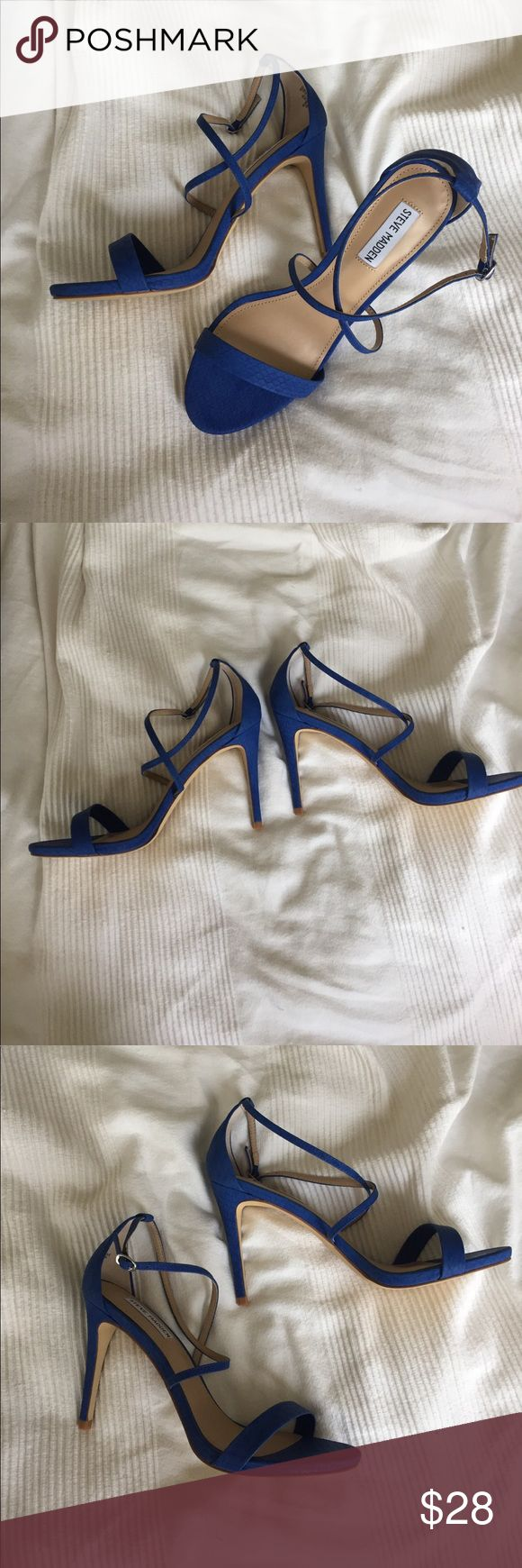 Faux Leather snake cobalt blue strappy high heel Steve madden. 4 inch heel. Faux snake leather. Crisscross straps with adjustable buckle. Cobalt blue. Brand-new with tags. I will include box only if you note that you want it. Steve Madden Shoes Heels