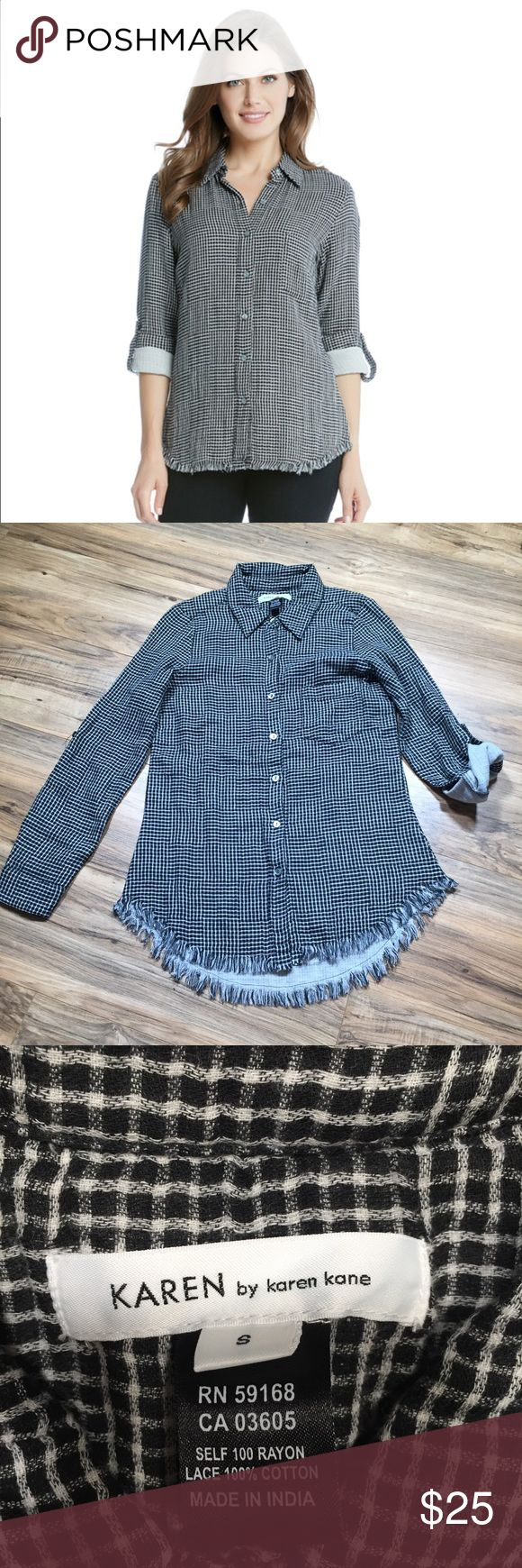"Karen Kane Fringe Button Down w/ roll up sleeves This button up shirt is both casual and polished with a classic plaid pattern, roll tab sleeves, and a fringed hem.  Measurements: Pit to Pit: 18.25""  Waist: 17""  Length: 29.5"" Sleeve Length: 16"" cuffed 23.5"" uncuffed Karen Kane Tops Button Down Shirts"