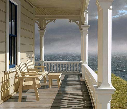 Morning Tempest by Edward Gordon - Morning Tempest by Edward Gordon - ocean view from across a Victorian porch with adirondack chairs