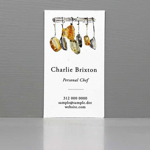 Personal Chef Business Card Copper Pans Cooks Card Etsy Personal Chef Business Business Cards Personal Chef
