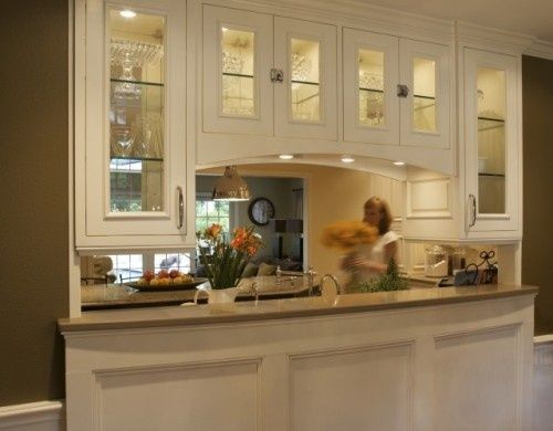 incredible custom pass through wall dividing living room and kitchen spaces with gorgeous overhead cabinets with. Interior Design Ideas. Home Design Ideas