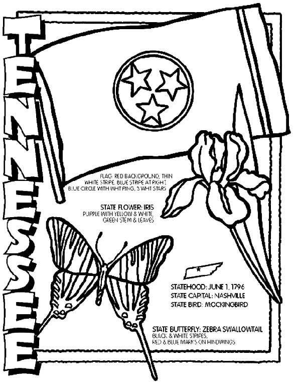 Tennessee coloring page-- coloring sheets for all 50