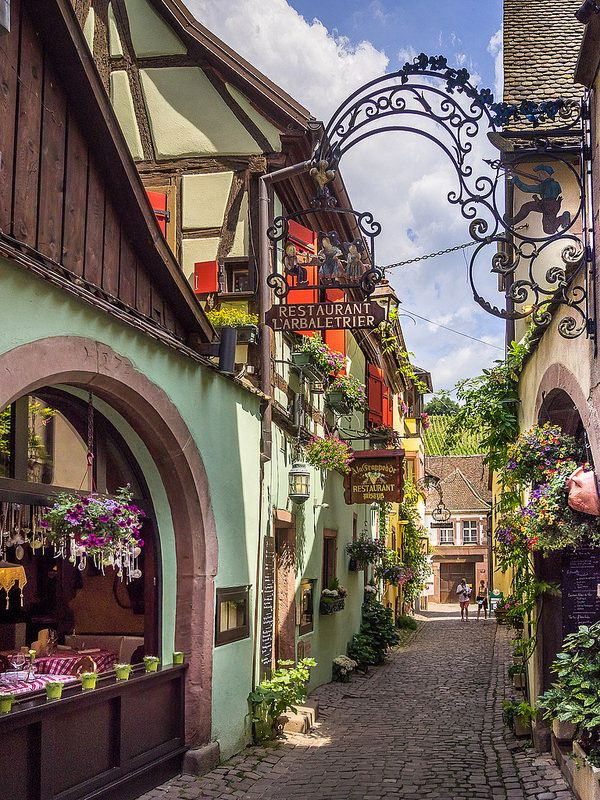 Riquewihr, France.Famed for being the most beautiful town on the Alsatian Wine Route, the village's colorful wooden houses have remained essentially untouched since the 16th century. Although they say the real draw here is the local wine!