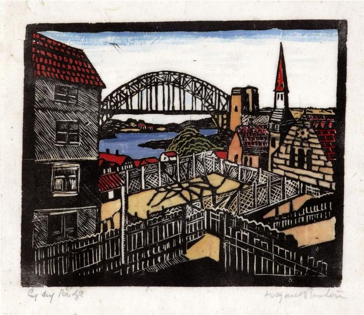 The Bridge from the North Shore C.1932 a hand coloured woodblock print by Margaret Preston. S