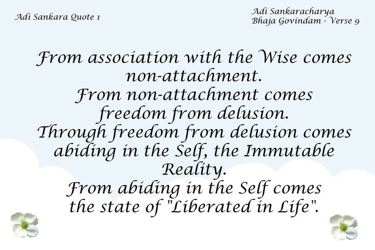 """Adi Sankara Quote 1 From association with the Wise comes non-attachment. From non-attachment comes freedom from delusion. Through freedom from delusion comes abiding in the Self, the Immutable Reality. From abiding in the Self comes the state of """"Liberated in … read more"""