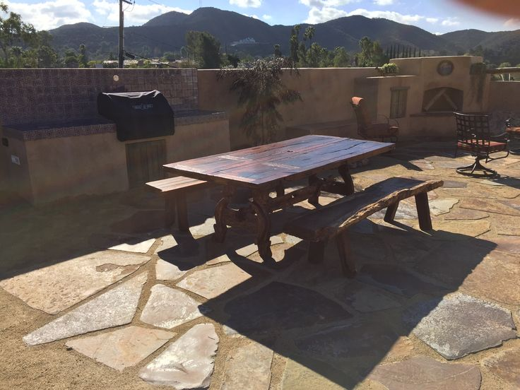 antique door dining table for alfresco dining with benches